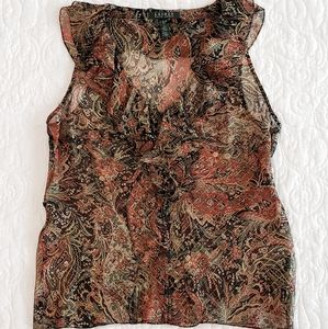 Ralph Lauren Silk Sheer Sleeveless Blouse- 6